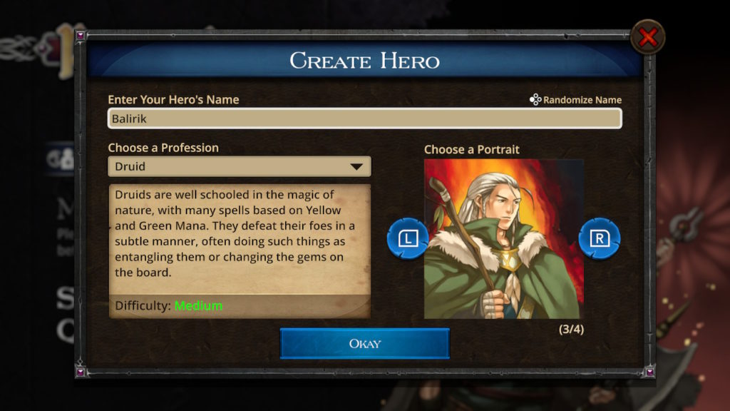 Puzzle Quest - The Legend Returns Hero Creation
