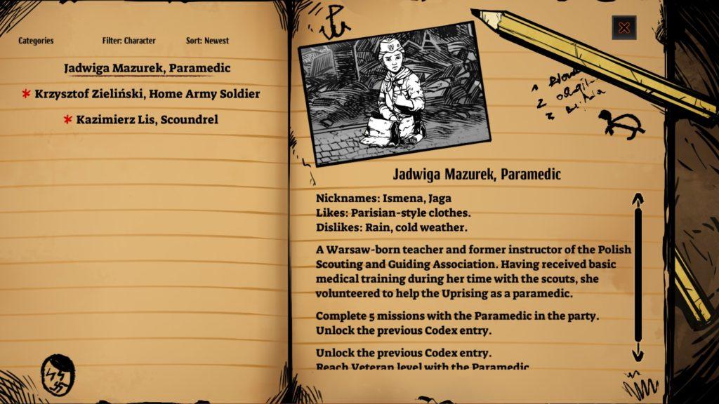 WARSAW Character Sheet