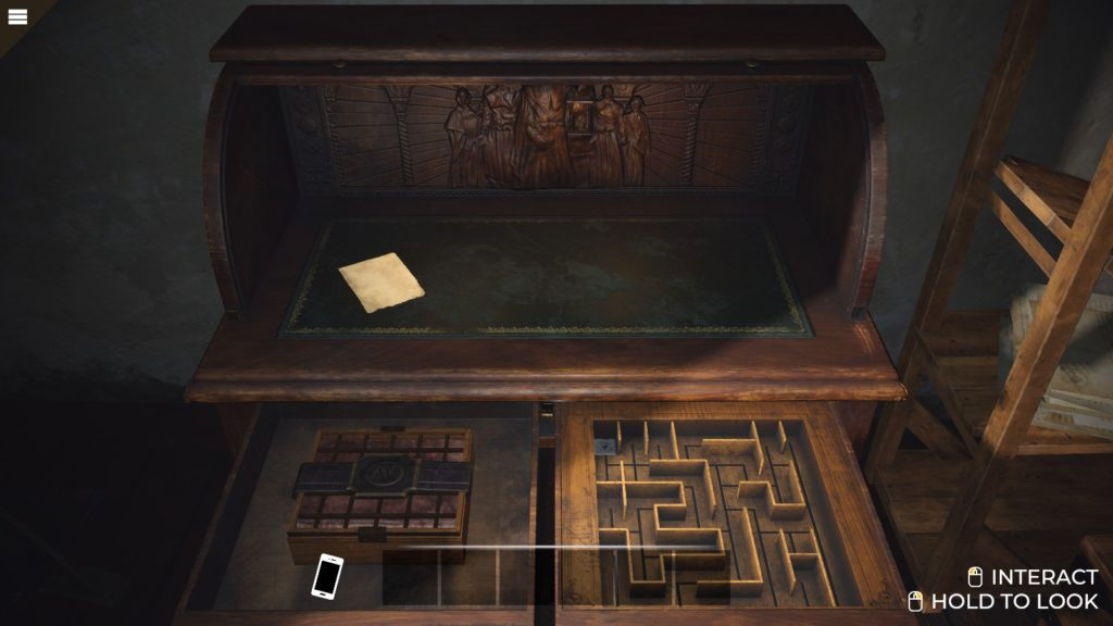 A hidden compartment in the tutorial desk.
