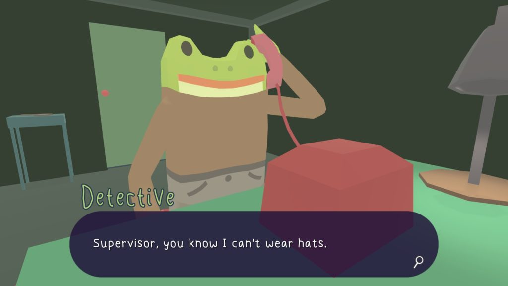 Frog Detective answers the phone.