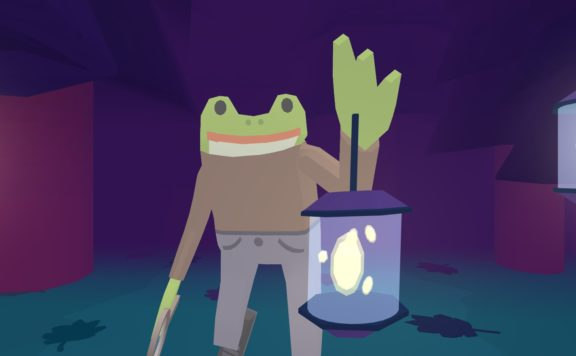 Frog Detective holds a lantern.