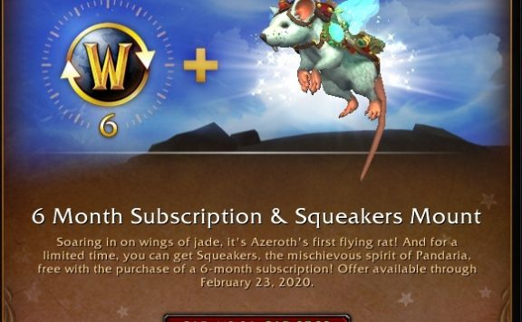 World of Warcraft - Get 6 Months Subscription & Receive a New Cute Mount