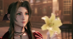 Aerith holds a flower.