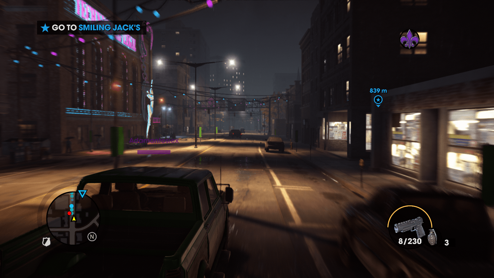Cruising through the beautifully lit streets of Steelport.