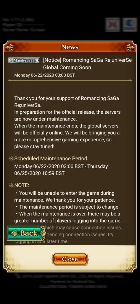 re saga maintenance