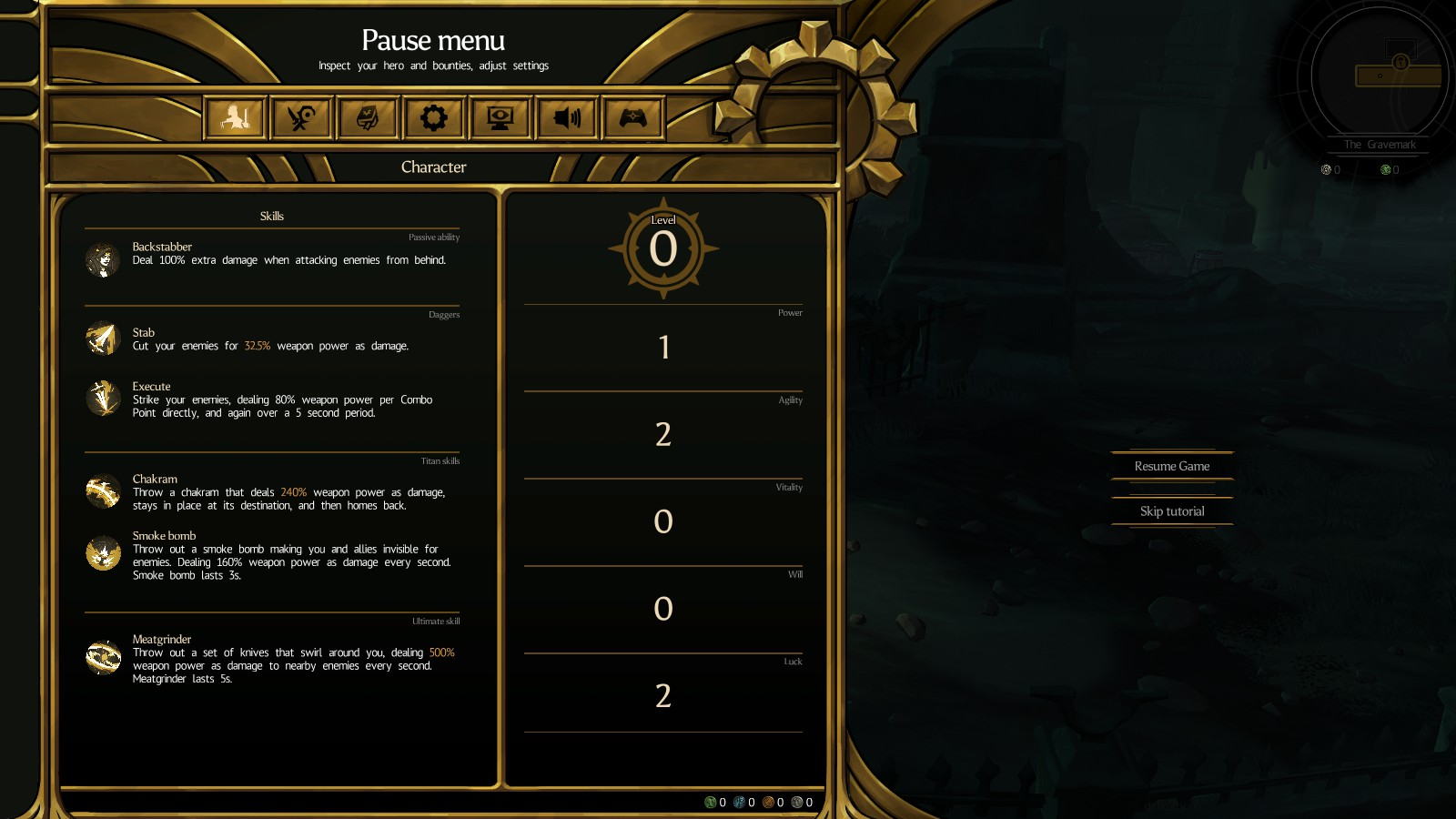 Blightbound's attribute system on the pause menu.