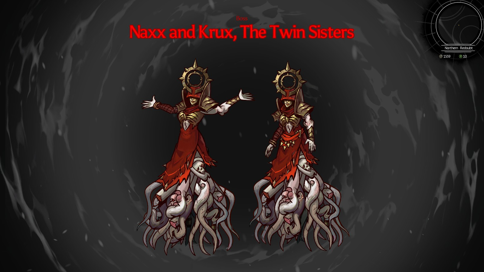 Naxx and Krux, The Twin Sisters boss fight.