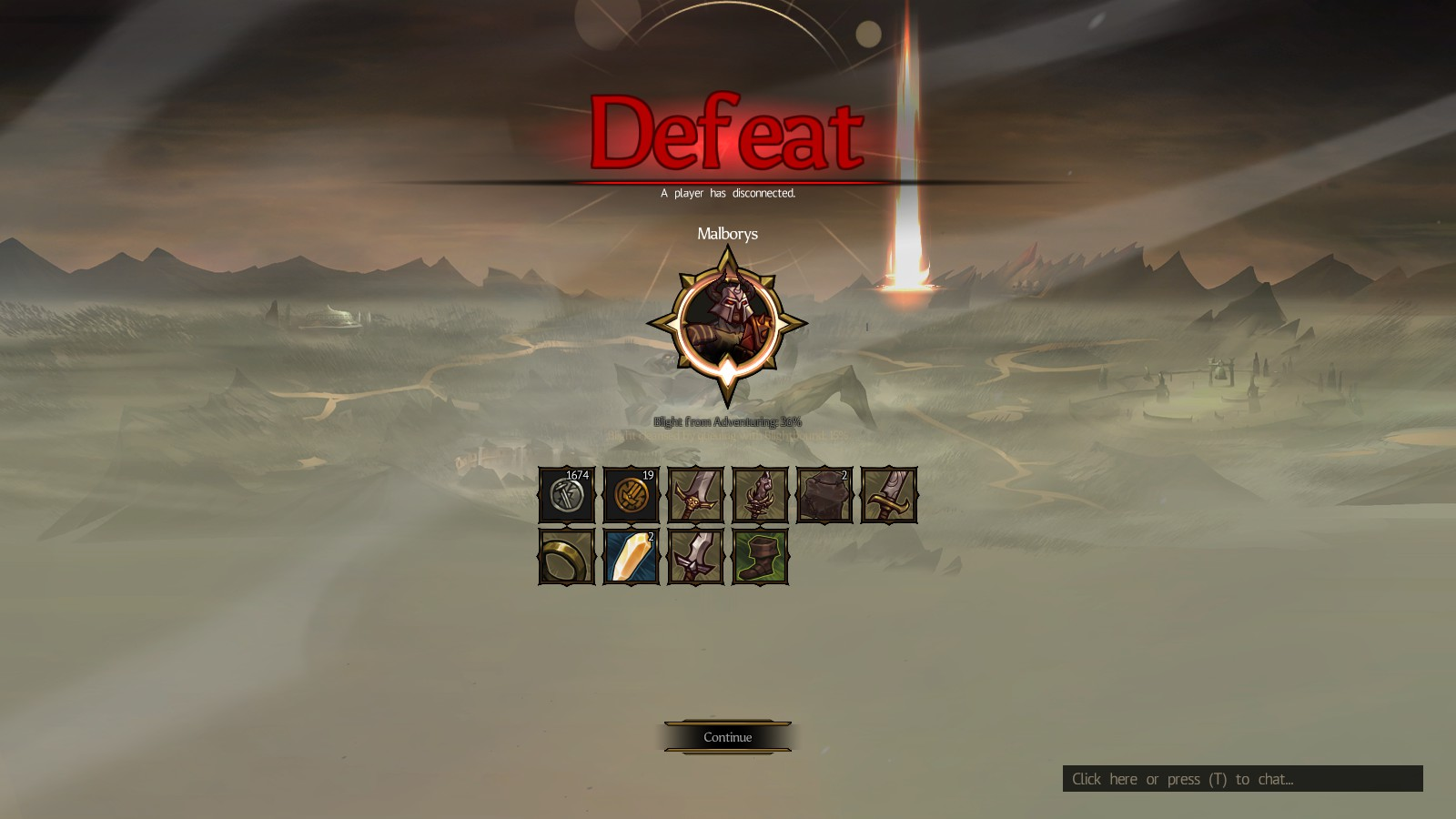 The Defeat screen shows a list of loot earned from the dungeon.
