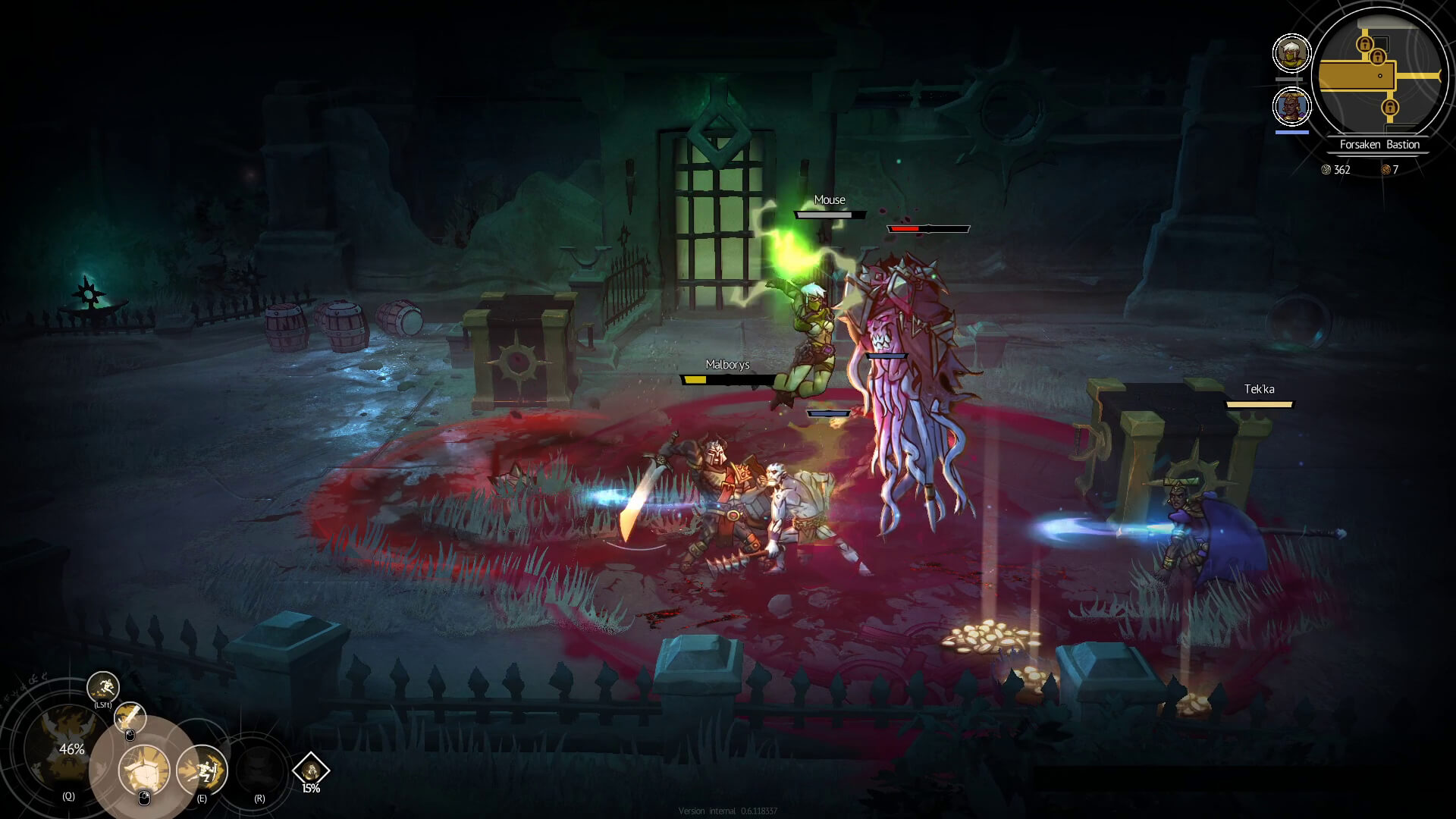 The heroes dance around puzzle boxes while fighting a boss.