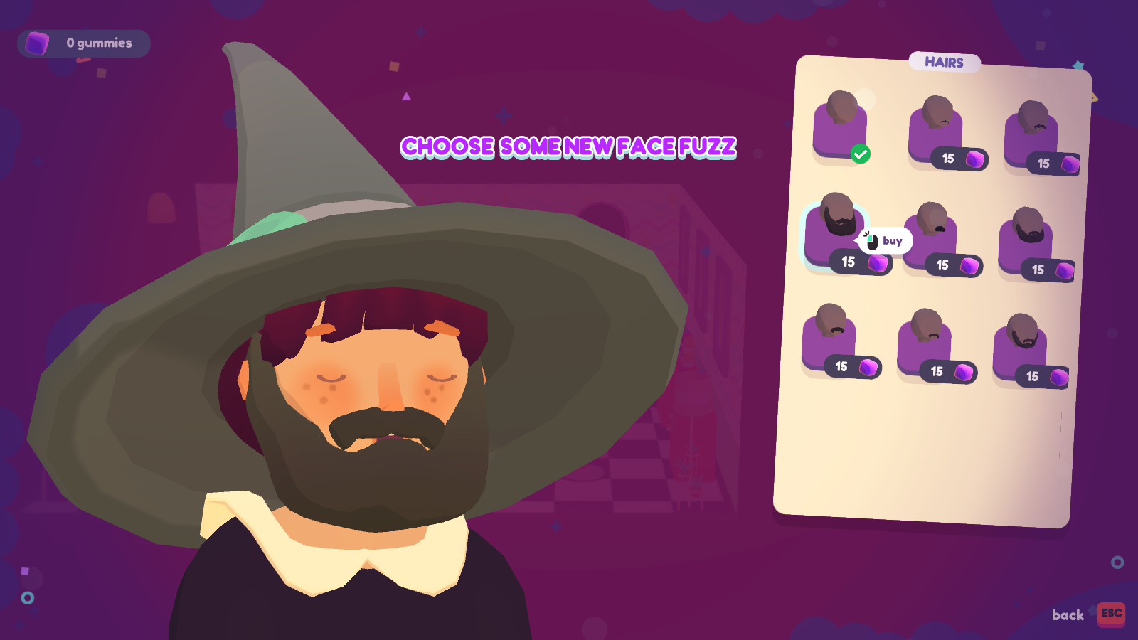 A beard and a witch hat.