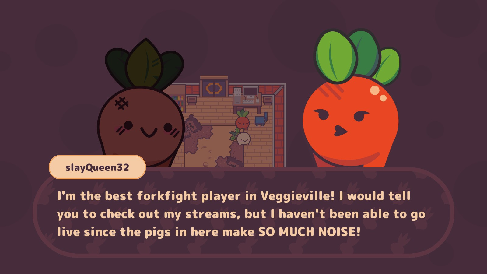 The popular streamer slayQueen32 laments about the noise of the piggies in the barn where she streams.