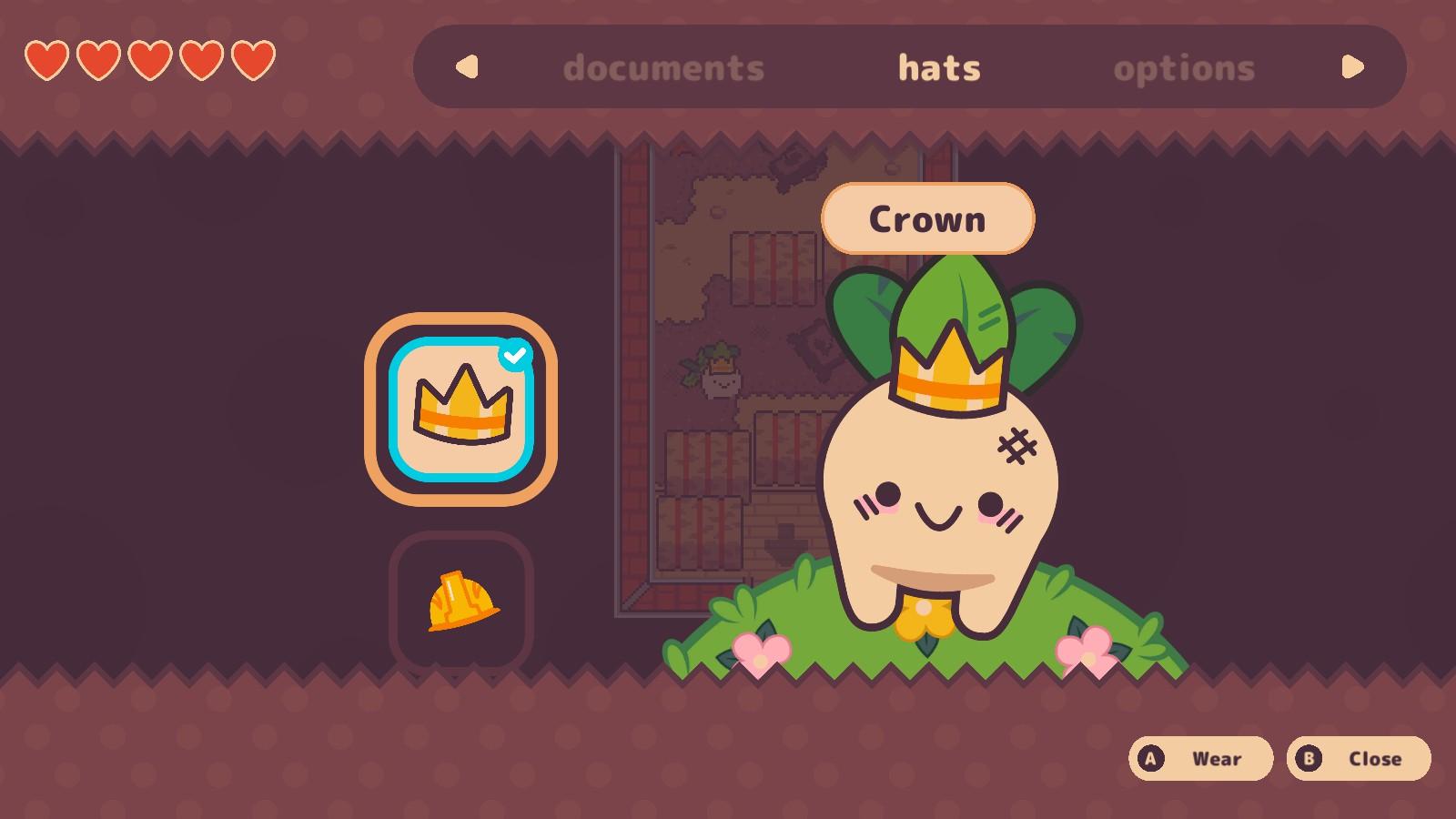 Turnip Boy wears a crown.