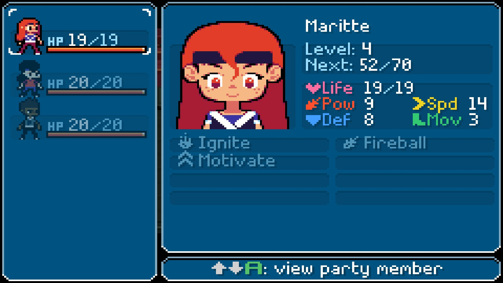 A list of Maritte's spells that she has at her disposal at level 4 in Ikenfell.