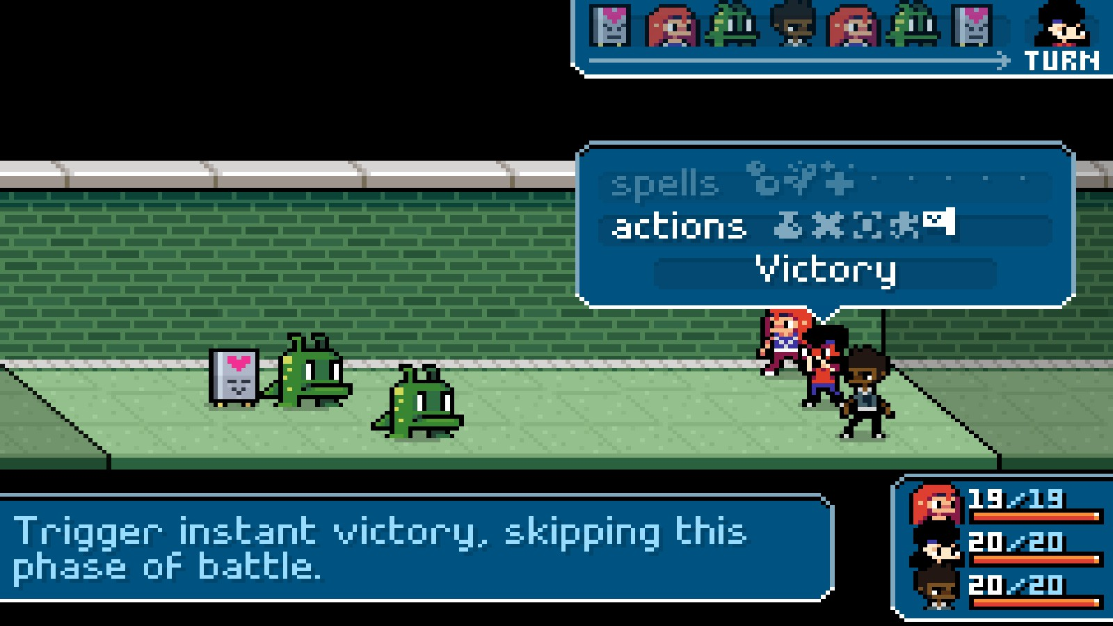 Declare instant Victory in Ikenfell if you'd like to push through some of the more tedious fights.