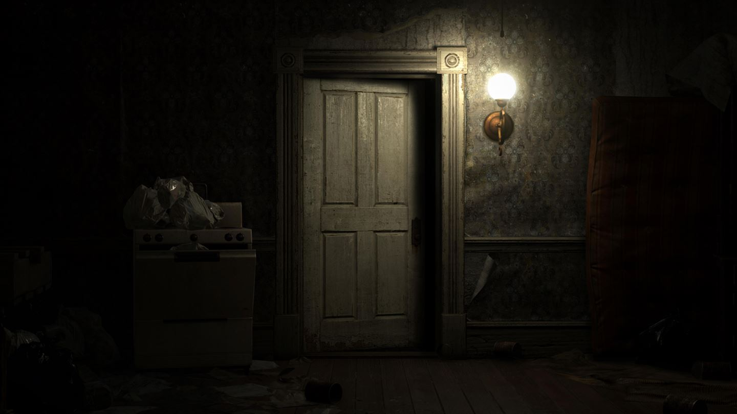 A creepy door in Resident Evil: Biohazard's farmhouse. You know how this is going to end.