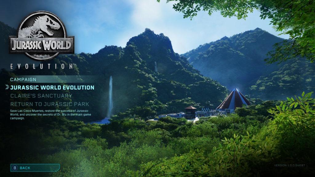 Jurassic World Evolution - Start Menu