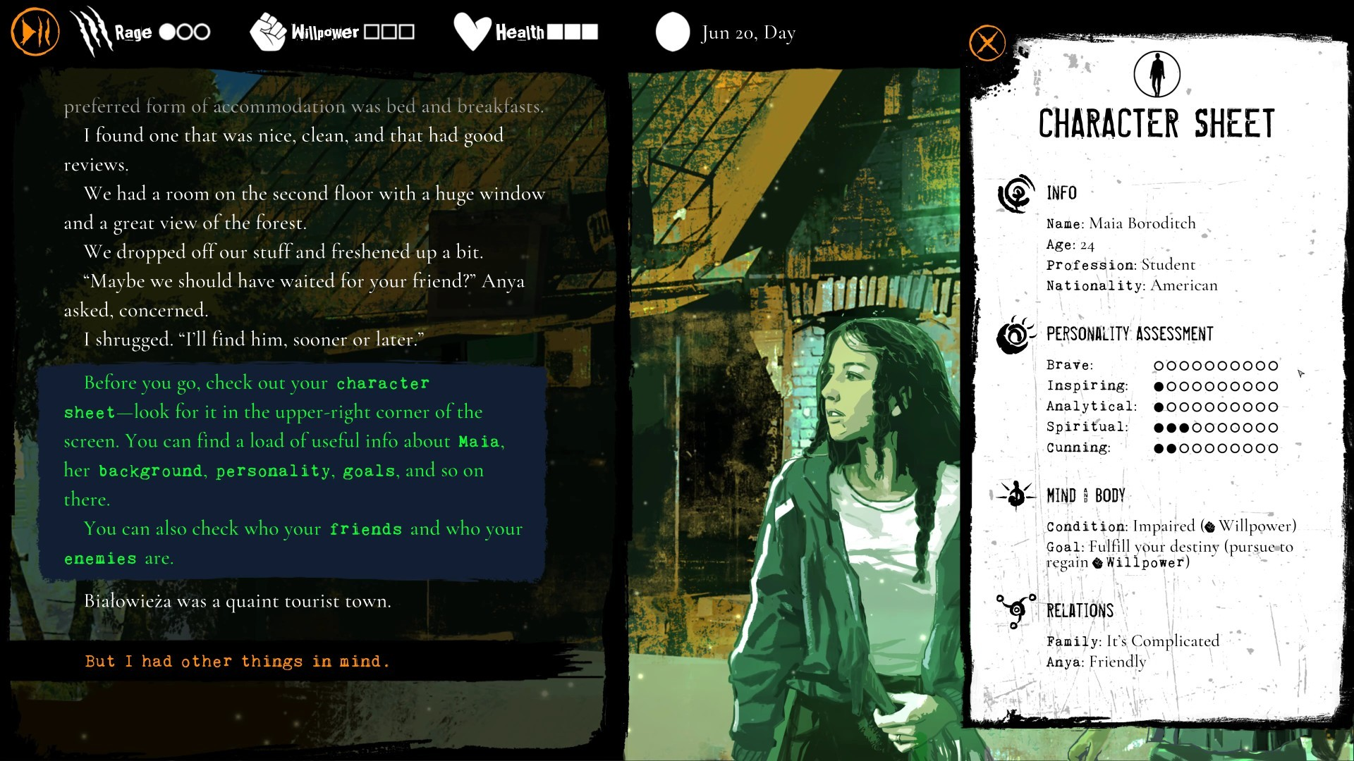The character sheet is handy for reminding you of Maia's current relationships, but often isn't needed in Werewolf: The Apocalypse - Heart of the Forest.
