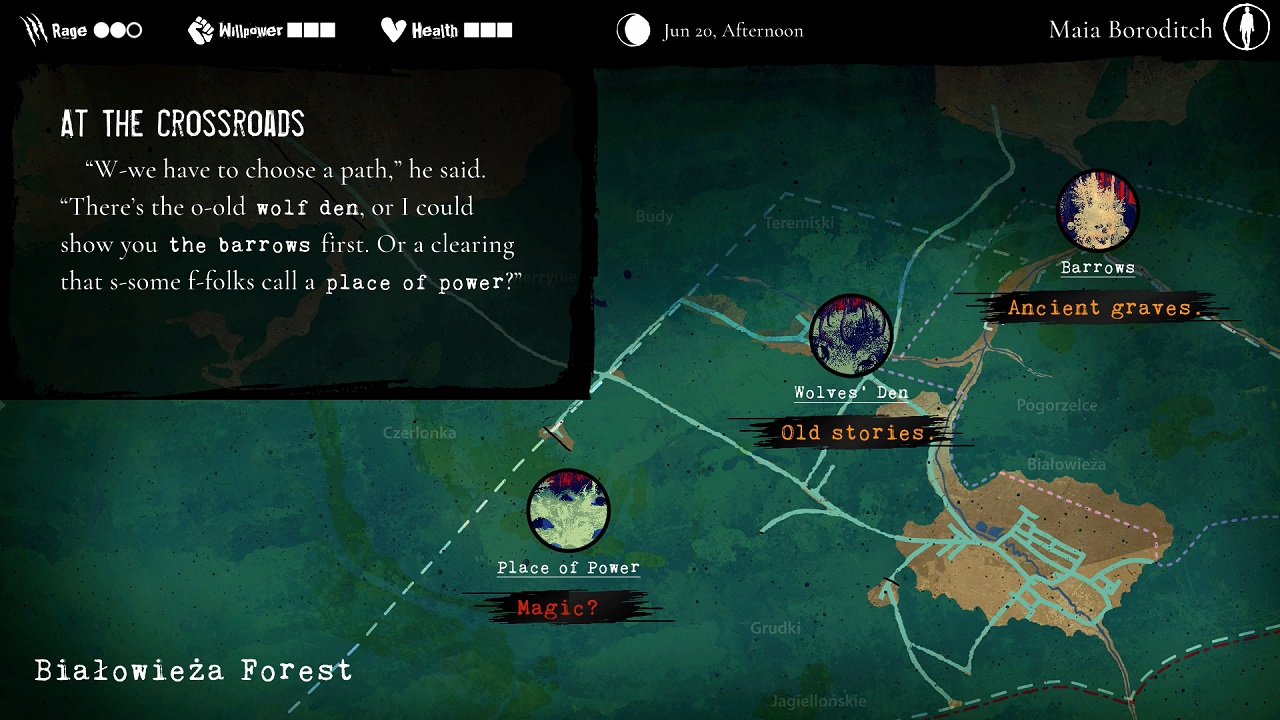 The map allows Maia to traverse between scenes. Sometimes you can visit them all, sometimes you only the one chance.