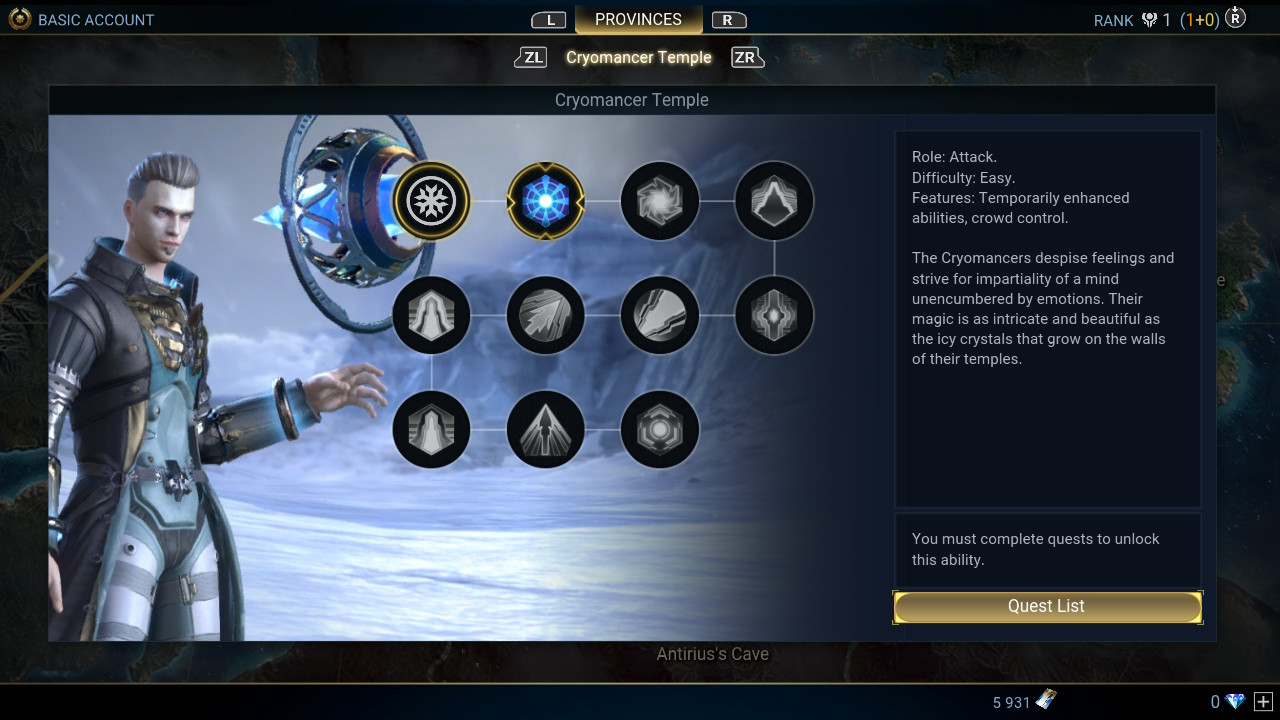 Abilities and skill tree in Skyforge.