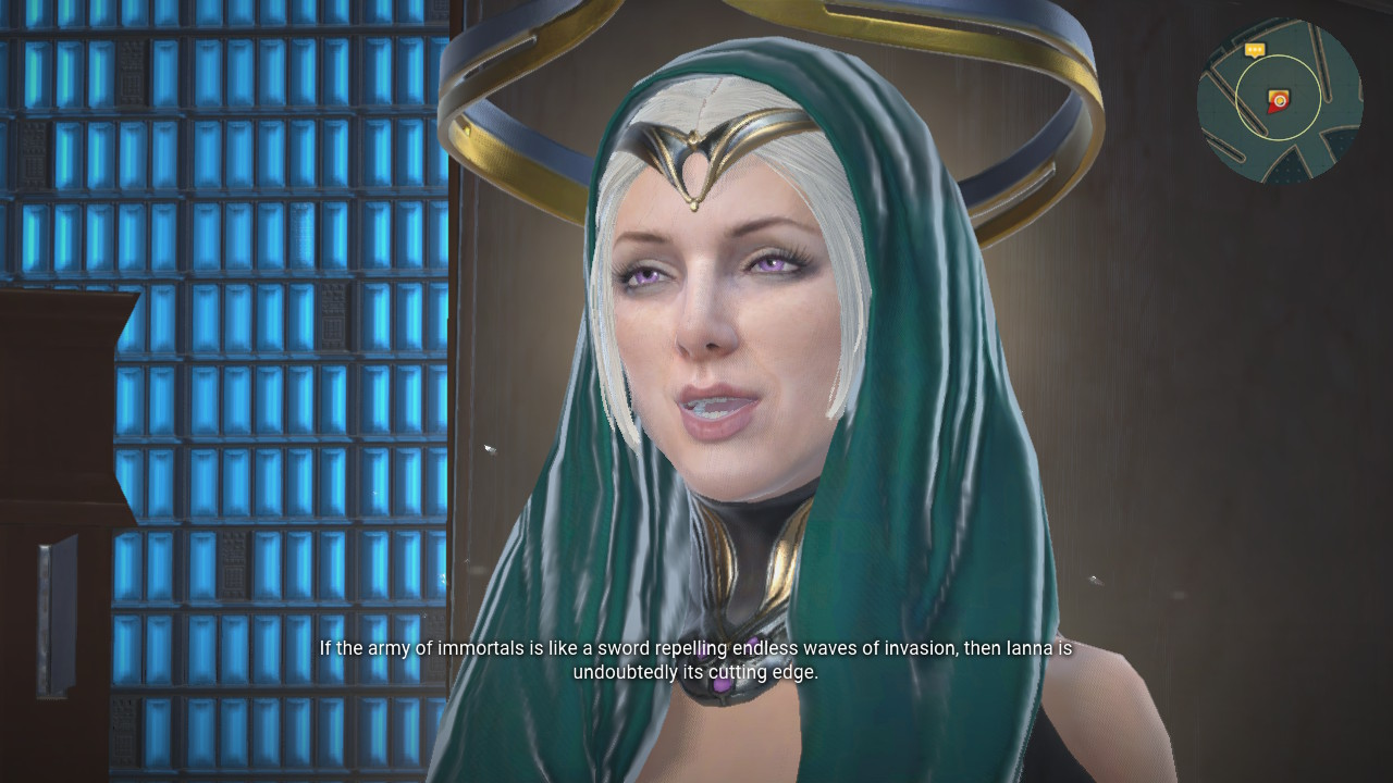 Herida gives the player some backstory in Skyforge.