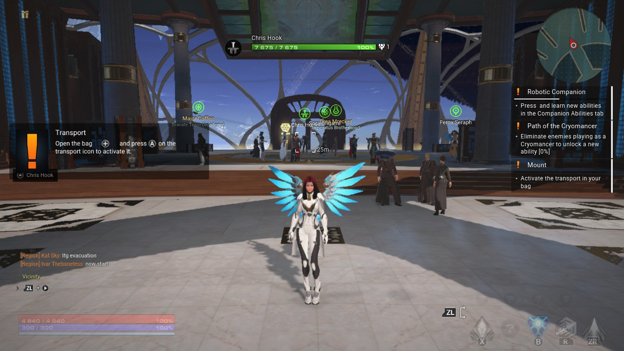 Promotional wings and an outfit in Skyforge.