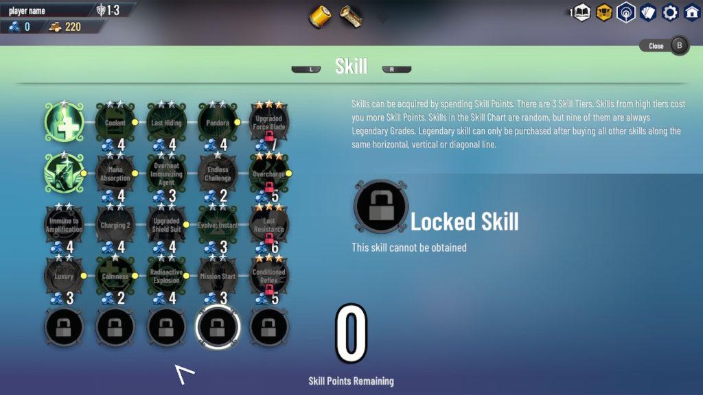Skills Screen