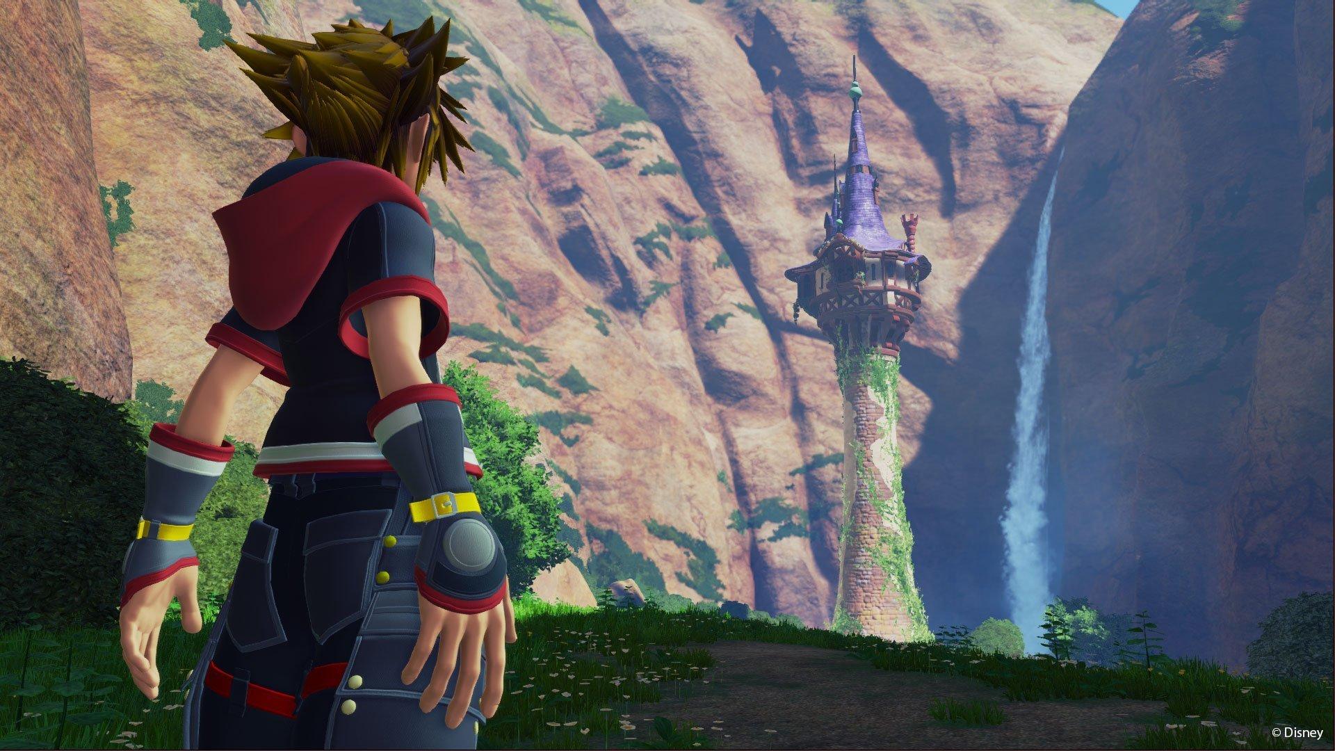 Sora looks out at Rapunzel's castle in Kingdom Hearts III.