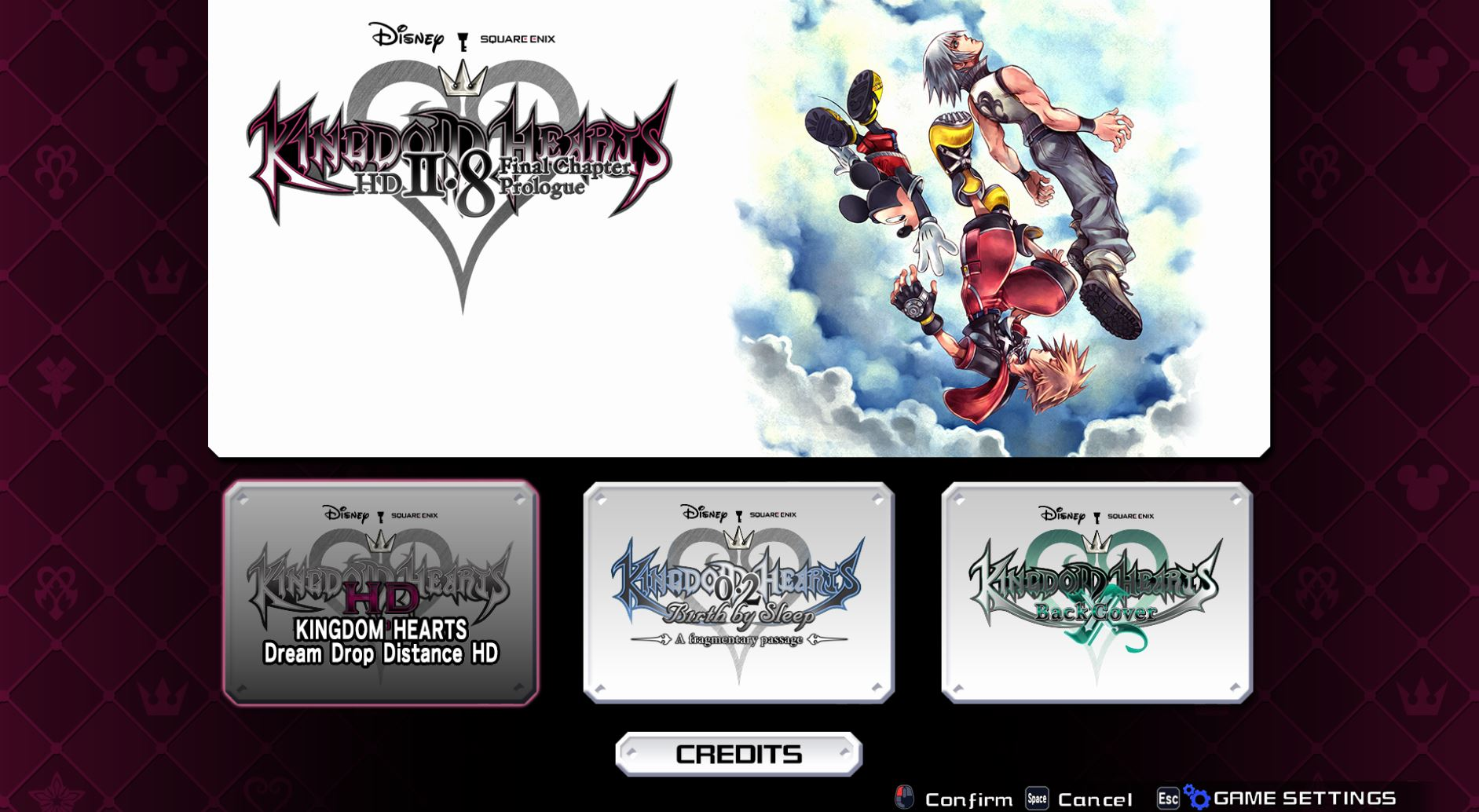 You can choose from a variety of Kingdom Hearts titles from one screen.