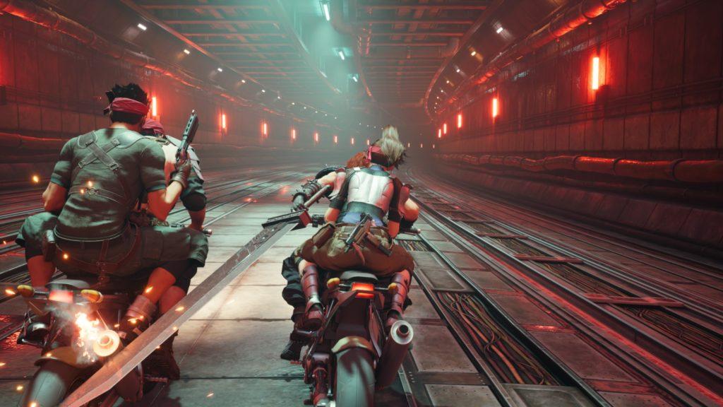 Final Fantasy 7 Remake Intergrade Avalanche ride motorbikes through a tunnel