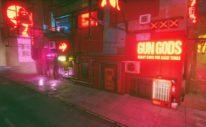 Glitchpunk cityscape shot