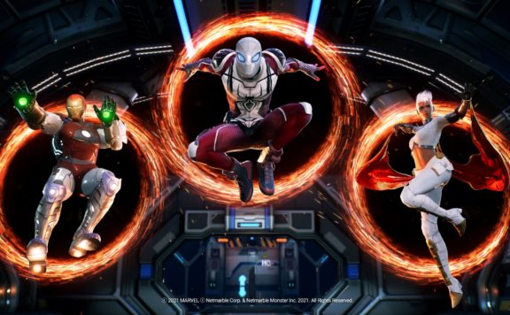 Marvel Future Revolution Blasts Onto Mobiles Today - spiderman storm and iron man jump through ring portals