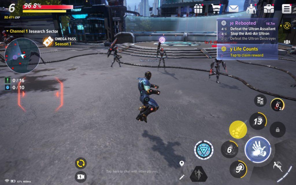 combat marvel future revolutions - iron man attacking AIM minions