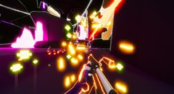 Get To The Orange Door screenshot of neon level and shotgun beign fired