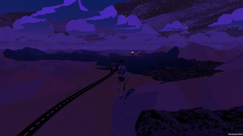 where the water tastes like wine screenshot of skeleton walking down a dark road