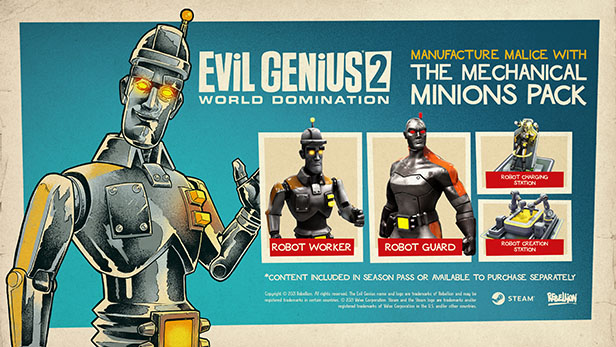 Evil Genius 2 - Mechanical Minions Pack Is Available Now