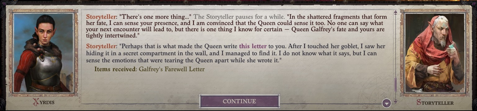 Act V, Drezen - Galfrey's Farewell Letter